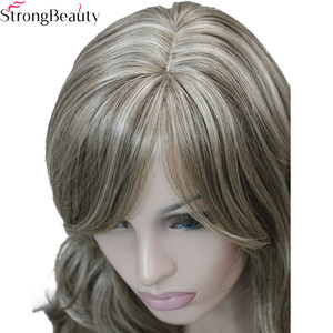 Image 4 - Güçlü Güzellik Sentetik Dalga kadın Peruk Uzun Kapaksız Seçmek Için 7 renk