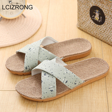 4299959be LCIZRONG New 2019 Simple Strap Home Slippers For Women Hemp Slapping Family Flip  Flops Ladies Linen