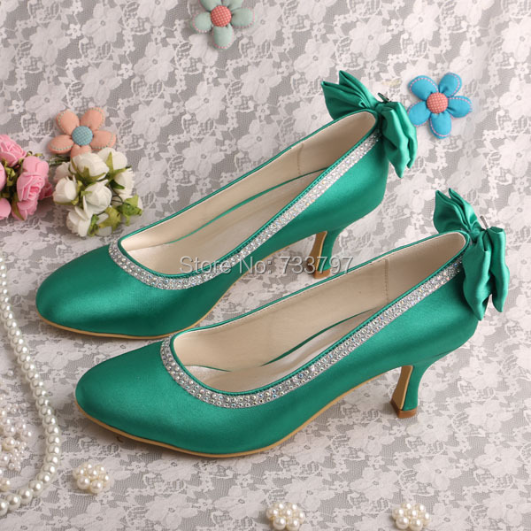 Wedopus MW088 Closed Toe Women Green Wedding Shoes Bridesmaid Med Heel