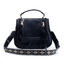 Personalization Faux Leather Guitar Strap Saddle Bags Tassel Shoulder & Crossbody Bag Can Be Embroidered in Front Flap