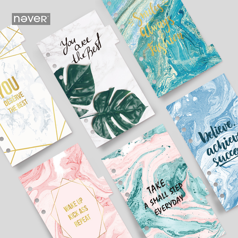 Never Marble Series Planner Accessories Index Divider For Spiral Notebook 6 Holes Loose Leaf Binder Diary School Gift Stationery never korean spiral notebook 6 hole loose leaf inside page index page for filofax planner a6 dividers bookmark school stationery