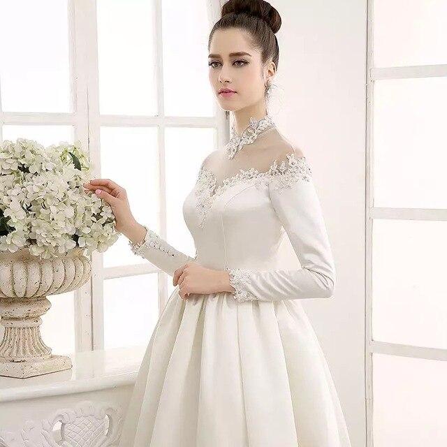 Retro collar satin long sleeve A line princess wedding dress-in ...