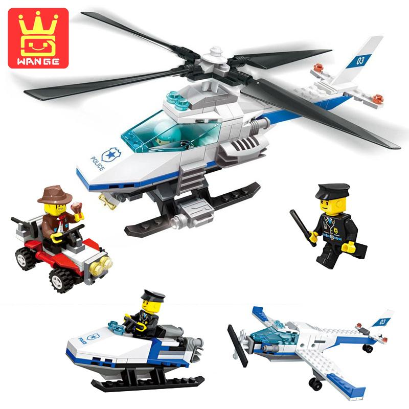 WANGE Helicopter 3 In 1 206 Pcs City Police Series Blocks Model Action Building Learning Toys 2017 Children Birthday Gifts city series helicopter surveillance building blocks policeman models toys children boy gifts compatible with legoeinglys 26017