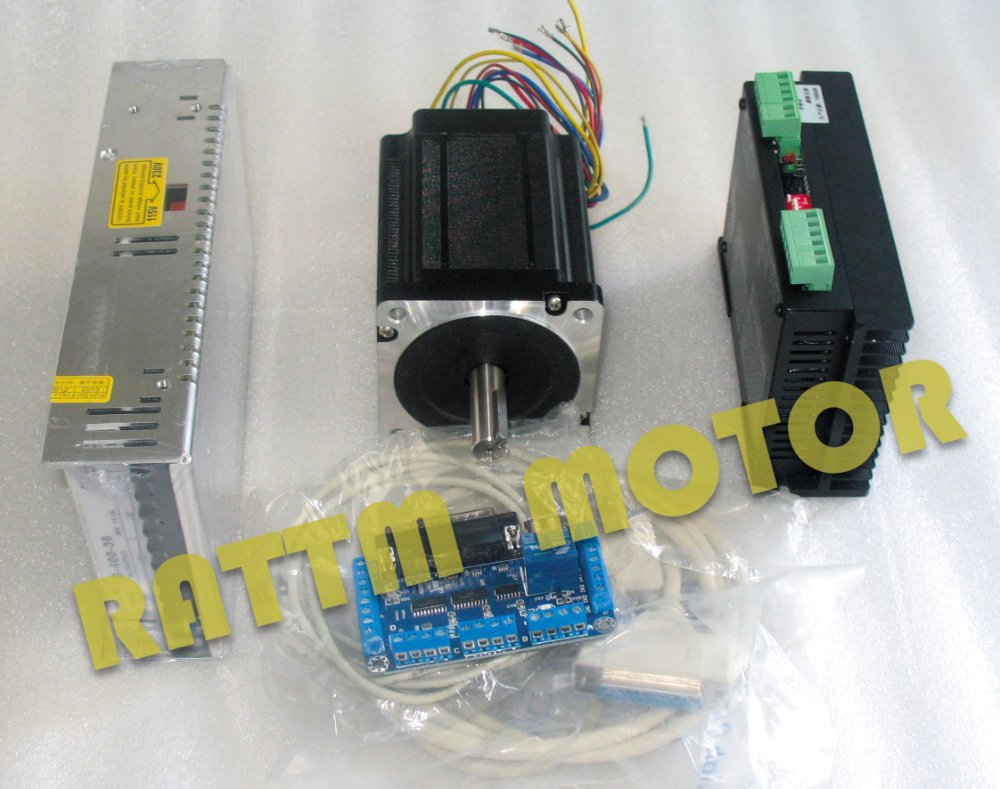 High-quality!! 1 Axis Nema 34 Stepper Motor (Dual shaft) 1230oz-in/5.0A /116mm& Driver 6A/80VDC 256 Microstep 4axis nema 34 1230oz in 5 0a stepper motor