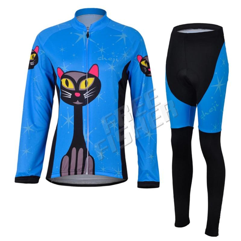 Amur Leopard Sports Womens Blue Cycling Clothing Bike Long Sleeve Jersey with Pants Wear Ropa Ciclismo Riding Suits полотенцесушитель milardo amur amusm10m49