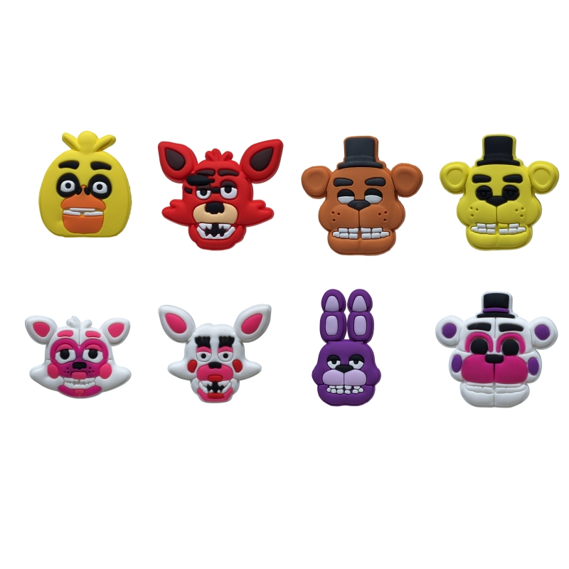 Single Sale 1pc Five Nights at Freddy's PVC shoe charms shoe accessories shoe decoration for croc jibz Kid's Party X-mas Gift