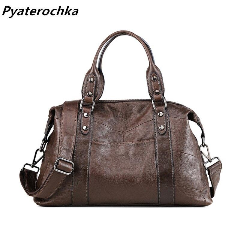Pyaterochka Genuine Leather Handbag for Women Fashion Shoulder bags Ladies Luxury Crossbody Bags 2018  High Quality Casual Totes