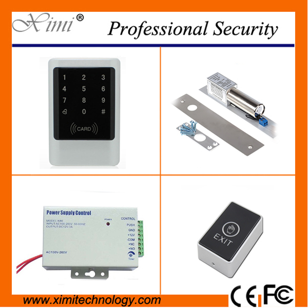 Good quality 125khz card access control without software +12V3A power supply+exit button+180KGS/280KGS/Boly Lock control kit diy lock system metal keypadl k2 electric control lock 3a power supply exit button 10pcs key cards wireless remote control
