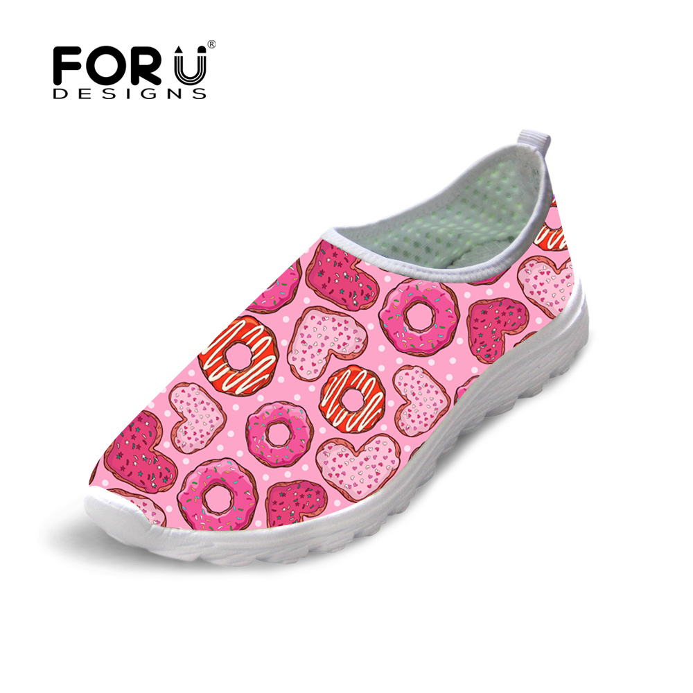 FORUDESIGNS Pink 3D Donuts Women's Casual Flats Shoes Fashion Summer Ladies Leisure Mesh Shoes Flat Beach Light Weight Loafers forudesigns fashion candy color women casual flats shoes summer breathable mesh shoes for ladies leisure loafers female shoes