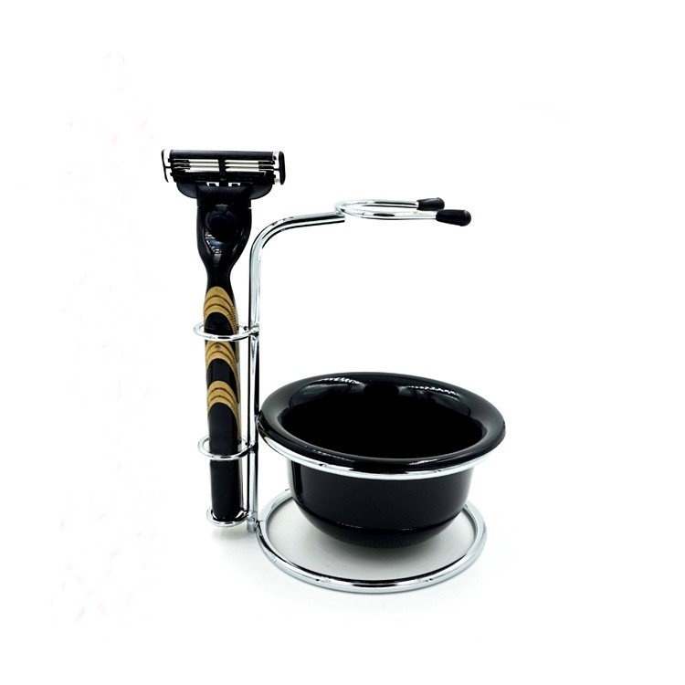 Metal Badger Shaving Brush Stand Razor Holder with Acrylic Shaving Soap Bowl 14