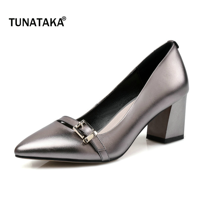 Genuine Leather Comfort Thick Heel Woman Lazy Pumps Fashion Buckle Dress High Heel Pointed Toe Spring Autumn Woman Shoes Red 2017 new sexy pointed toe high heel women pumps genuine leather spring summer shoes woman fashion dress party casual shoes pumps