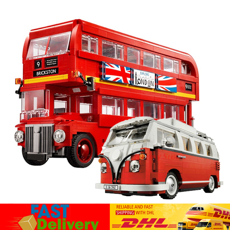 Lepin 21045 London Bus+21001 Volkswagen T1 Camper Van Model Building Blocks Bricks Toys Gifts Compatible LegoINGlys 10220 10258 lepin 21045 united kingdom britain london double decker bus building kit blocks bricks toy for gift 10258