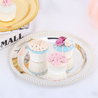 Tray cake topper wedding with beads cake plate Silver snack dish Dessert plate beads cake tools Metal Storage tray service plate