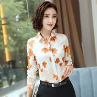 Printed Shirt 2019 New Autumn Women's Korean Version of The Literary Fan Temperament Fashion Slim Color Satin Shirt Women