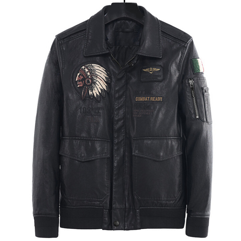 Genuine Leather Jacket Men Motorcycle Spring Autumn Vintage Real Leather Coat Male Slim Fit Indian Italy Casual Pilot Jacket