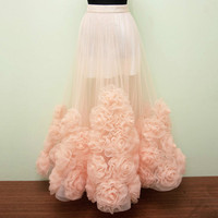Top Fashion Long Tulle Skirt Real Photo Ruffles Floor Length Skirts For Women 2017 Trendy Teens