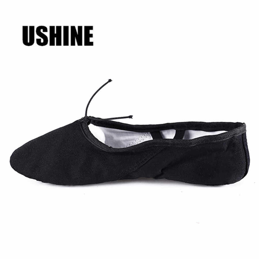 USHINE EU24-45 Canvas Black Yoga Zapatos De Punta De Ballet Slippers Ballet  Shoes Dance d091d2044212