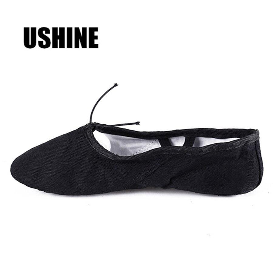 USHINE EU22-45 Canvas Black Yoga Zapatos De Punta De Ballet Slippers Ballet Shoes Dance For Girls Kids Children Women