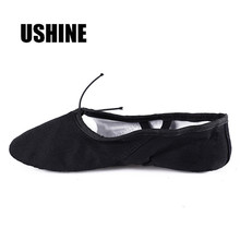 USHINE EU24 45 Canvas Black Yoga Zapatos De Punta De Ballet Slippers Ballet Shoes Dance For