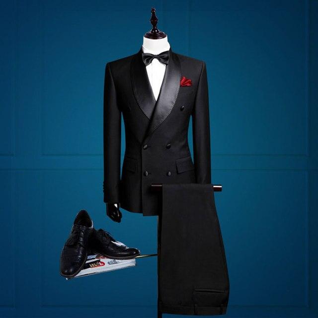 Nueva llegada del novio esmoquin cruzado juego por encargo del hombre traje  de negocios (chaqueta 7e3f7eb971e