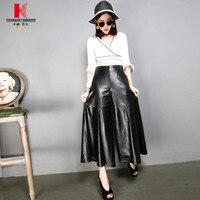 Черные брюки для Для женщин Высокая талия кожи на широкую ногу укороченные плиссированные брюки Для женщин s Plus Размеры серые брюки Для женщ
