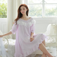 2016 new purple bow Lace Embroidery Vintage Royal Nightgown Cotton Ruffle Classical Long Nightdress Princess Sleepwea D26