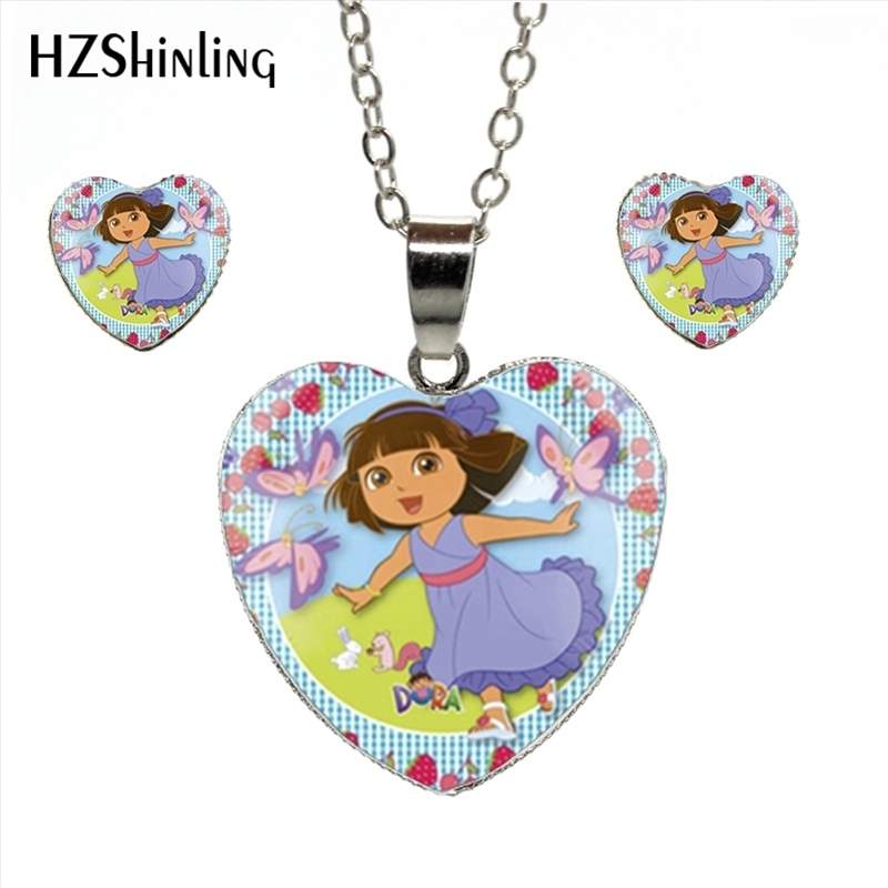 HES-038 Wholesale Dora Heart Necklace Lovely Girl Dora Jewelry Set Anime Role Glass Cabochon Necklace Penda ...