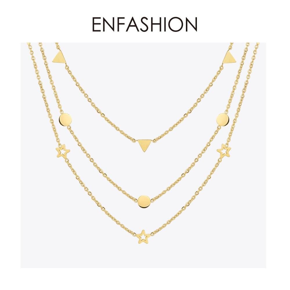 Enfashion Geométrica Triângulo Círculo Estrela Gargantilha Colar Mulheres Colar chocker Colares Pingentes De Aço Inoxidável da cor do Ouro