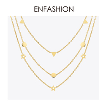 Enfashion Geometric Triangle Circle Star Choker Necklace Gold Necklaces Pendants Stainless Steel Necklace Women chocker Jewelry noble faux crystal triangle choker necklace for women