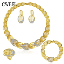 CWEEL Jewelry Sets For Women Gold Color Wedding Party Bridal Accessories Necklace Set Fashion Imitation Crystal Pendant Costume