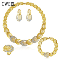 Jewelry Sets For Women Gold Plated Wedding Party Bridal Accessories Necklace Set Fashion CZ Crystal Rhinestone