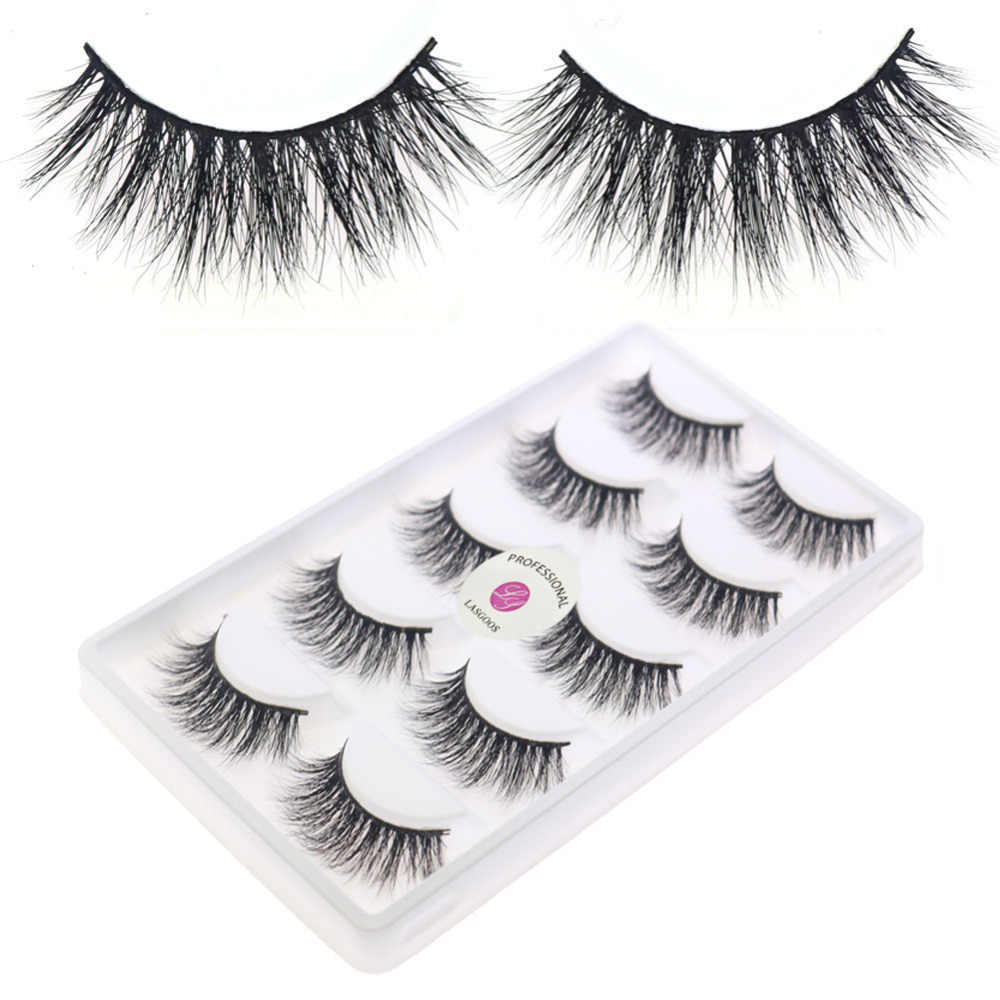 ee1928e49a8 LASGOOS D109 5 Pairs 3D Strip Lashes Daily Fake Faux Eyelashes Handmade  Crisscross Eyelash 100%