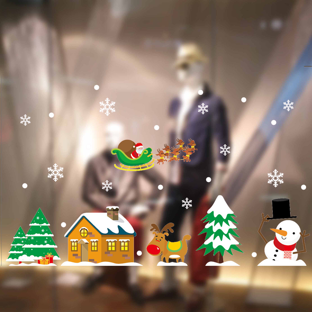2018 New Years stickers PVC christmas window stickers snowflake Static Electricity Removable Home Room adesivo de parede NOV15