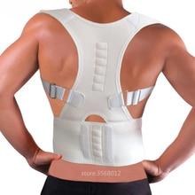 Adjustable Magnetic Posture Corrector Corset Adult Back Brace Support Belt Shoulder Orthopedic Vest Black White Color Plus Size shoulder magnetic support brace protector black size l