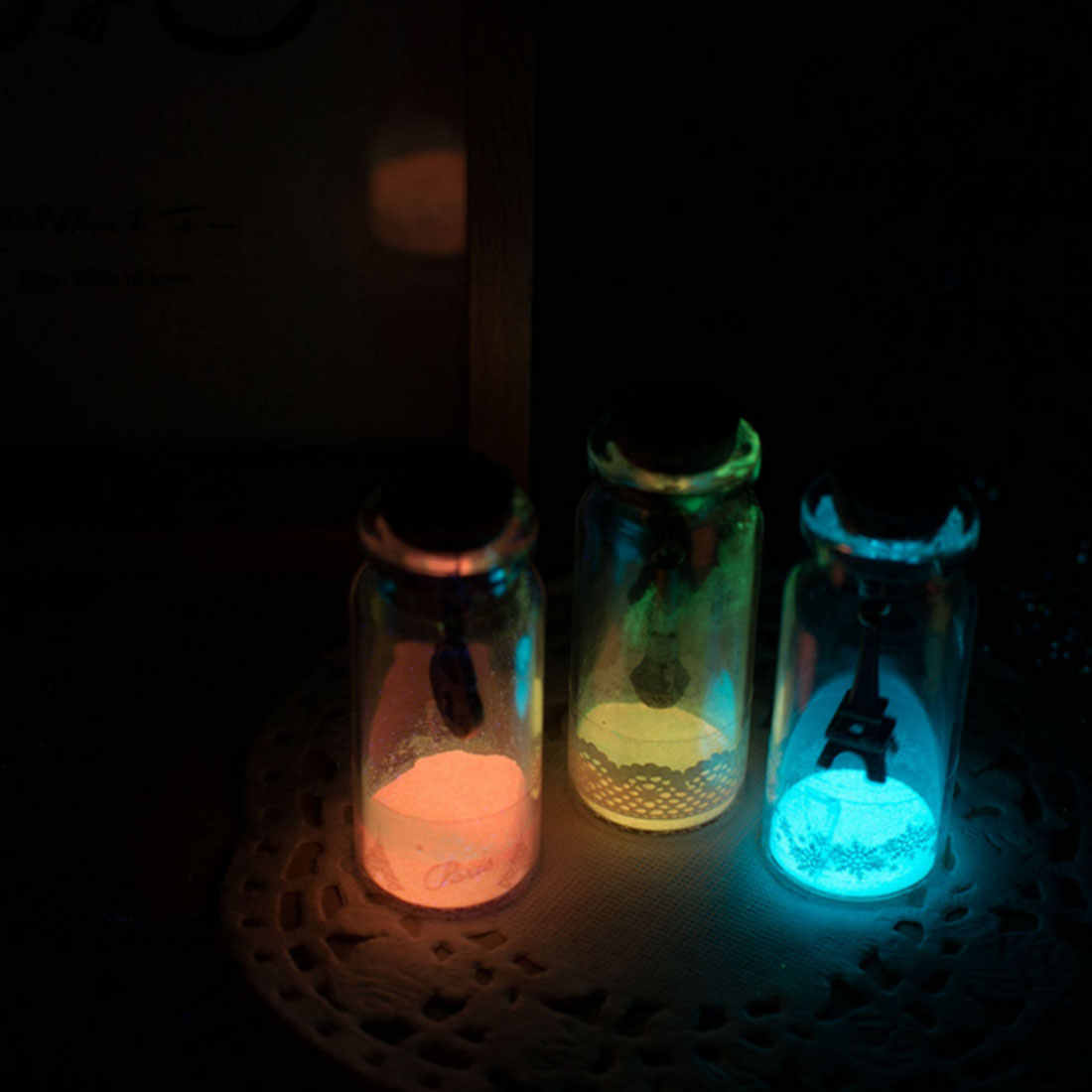 1 ถุง 10g Bady Art Glitter Phosphor Luminous ภาพวาดแป้ง DIY Fluorescence DUST GLOW in Dark Body Paint Pigment เคลือบ