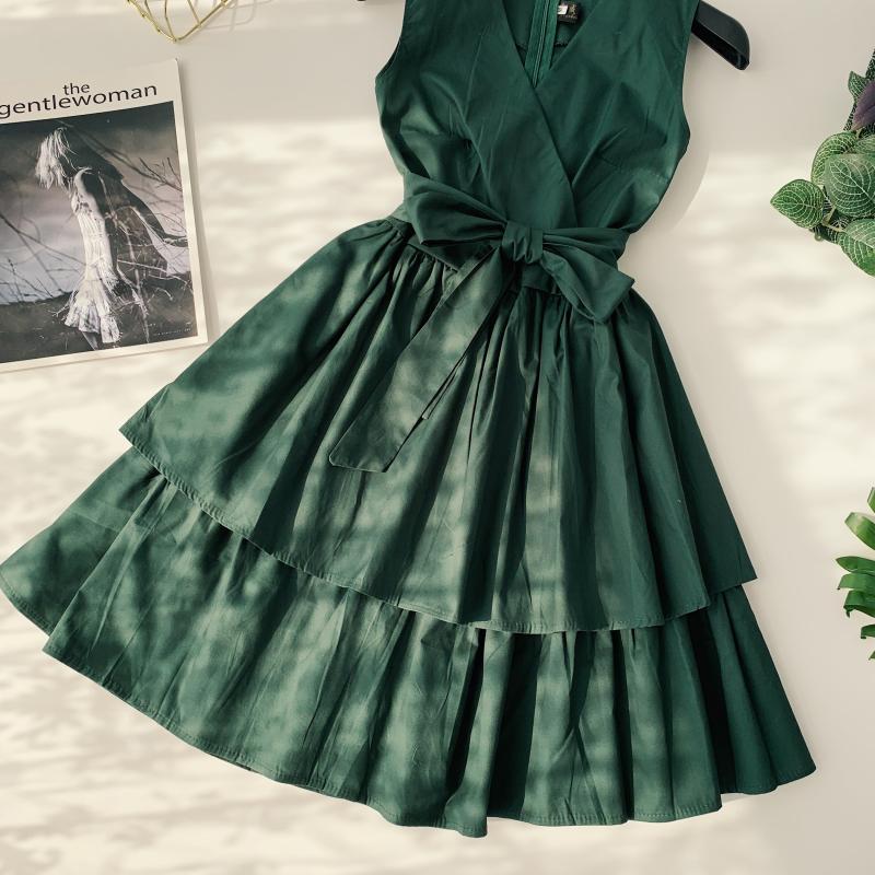 Korean Vintage Pure V Collar Sleeveless High Waist Bow Tie Double Ruffle Holiday Dress Women Vestidos E348 75