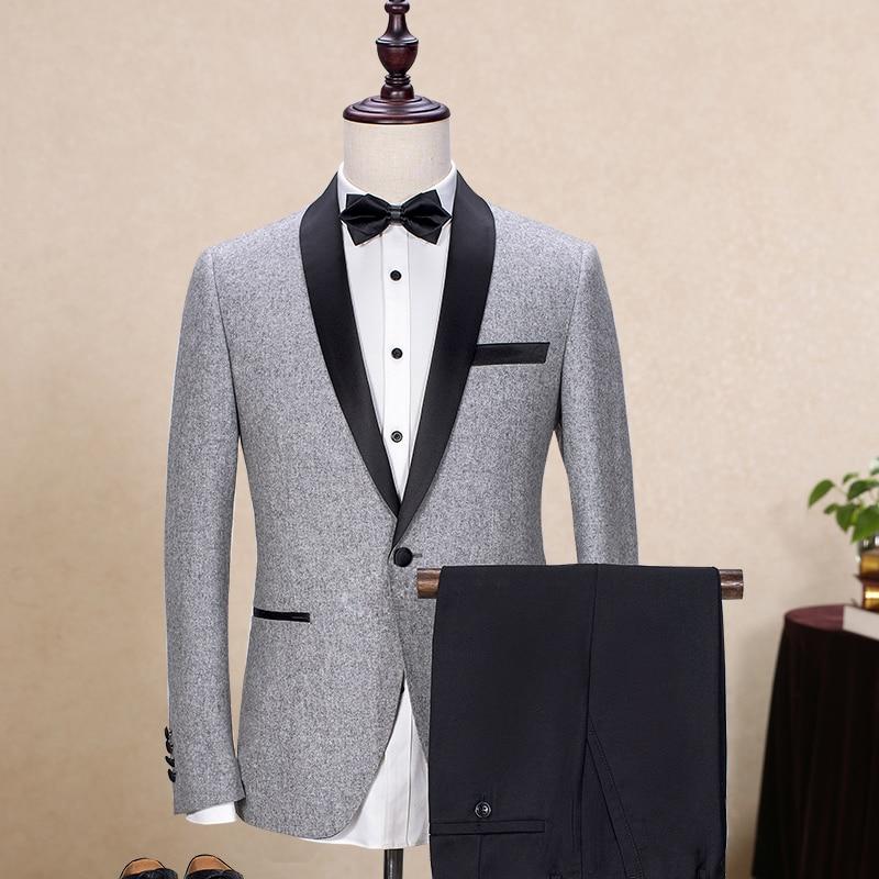 Wool Man Sute Wedding: Brand Wool Men's Suits Gray Black Jacket Blazers Slim Fit