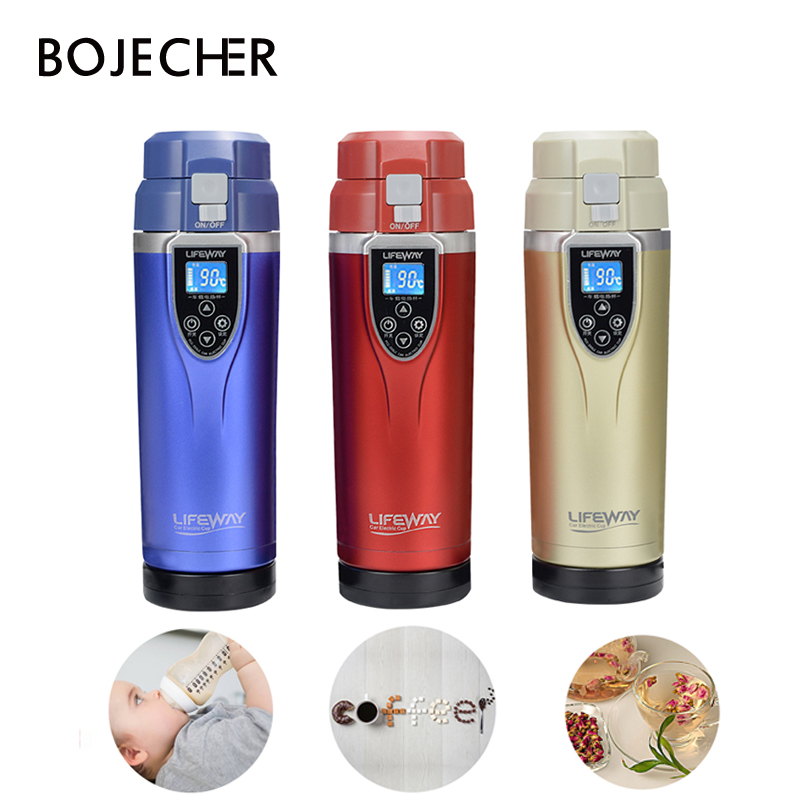 12V Car Kettle Portable Stainless Steel Mini Travel Kettle Car Water Heater Electric Cup Car Mug Thermol Water Bottle 350ML