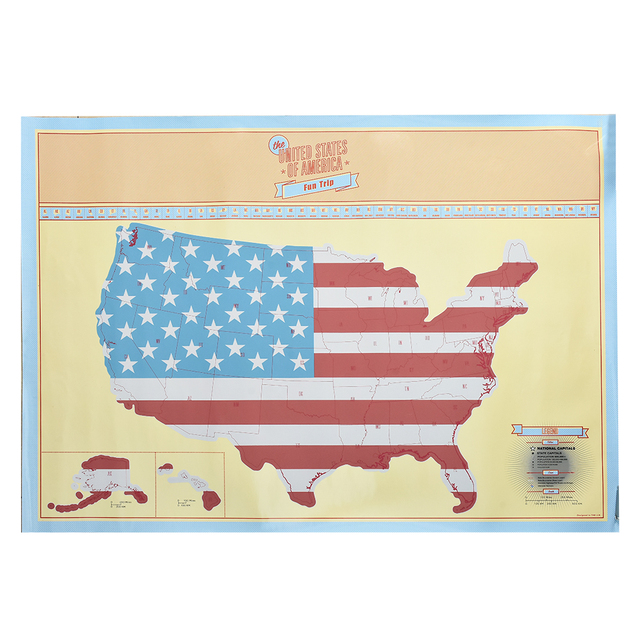 American Scratch Map US Version travel Poster Map Home Wall Sticker ...