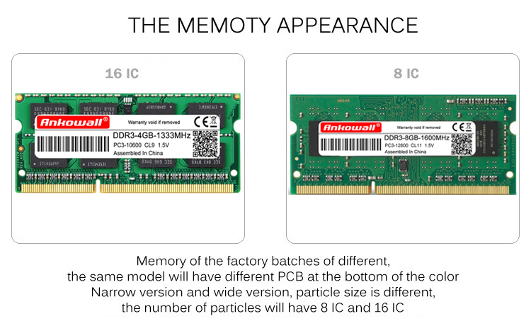 Ankowall Laptop Memory DDR3 With 2GB 4GB 8GB Capacity 1600/1333 MHz SO-DIMM 12