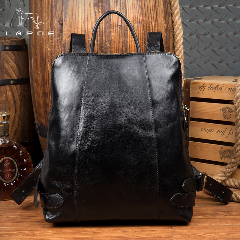 Men And Women Backpacks Man Rucksack 14Inch Laptop Bag Student Schoolbags Men Travel Genuine Leather Backpack Bags Black bagpack 2017 new masked rider laptop backpack bags cosplay animg kamen rider shoulders school student bag travel men and women backpacks
