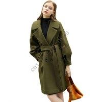 Phụ nữ Autumn Winter Wool Coat Phụ Nữ Văn Phòng Đôi Ngực Dài Slim Wool Coat Phụ Nữ Giản Dị Cộng Với Kích Thước Rộng Dài Rãnh áo