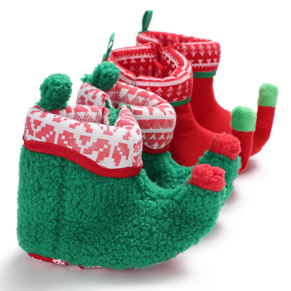 Christmas Baby Shoes First Walkers Baby Booties Baby Boy Girl Toddler Warm Shoes Green And Red Boots