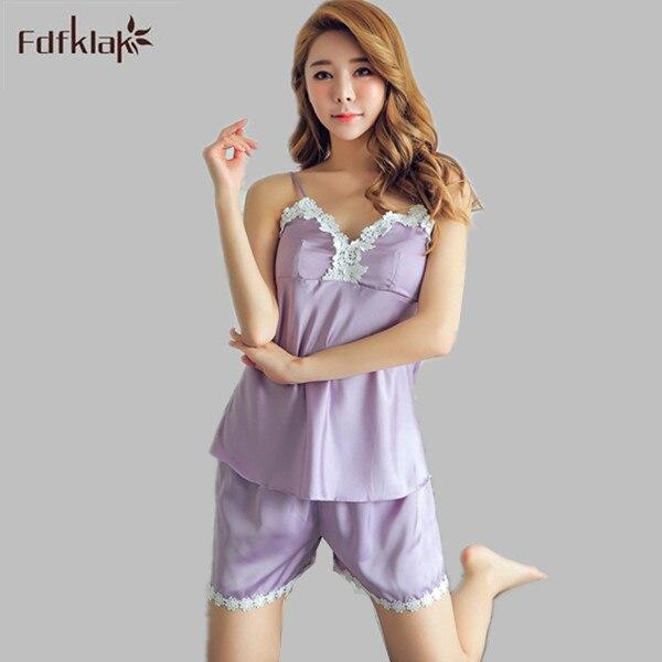 2017 Fashion Summer Pyjamas Spaghetti Strap Women Pyjama Set Satin Pajama  Sleepwear For Girl Tracksuit Two Pieces M-XL E1257 4470ebd69