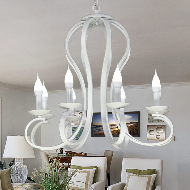 American garden pendant lamp, white iron lamp living room, warm bedroom lamp, dining room, children's room, simple art lamp a1 master bedroom living room lamp crystal pendant lights dining room lamp european style dual use fashion pendant lamps