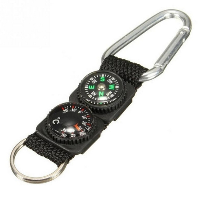 Outdoor Sports Multifunction Accessory Camping Mini Carabiner Keychain Metal Climbing Buckle with Thermometer Compass Key Hook