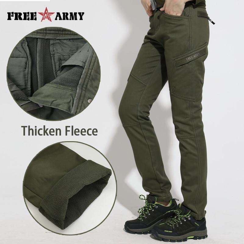 FreeArmy Fleeced Cotton Pants Winter Casual Thicken Pants Women Military Female Army Green Trousers Women Warm