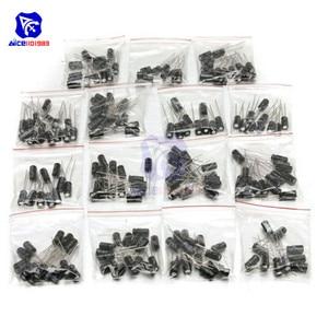 Image 1 - 200PCS 15 ערך אלומיניום אלקטרוליטי קבלים 10V 16V 25V 50V 0.1μF 0.22μF 1μF 3.3μF 10μF 47μF 100μF 220μF נמוך ESR קבלים