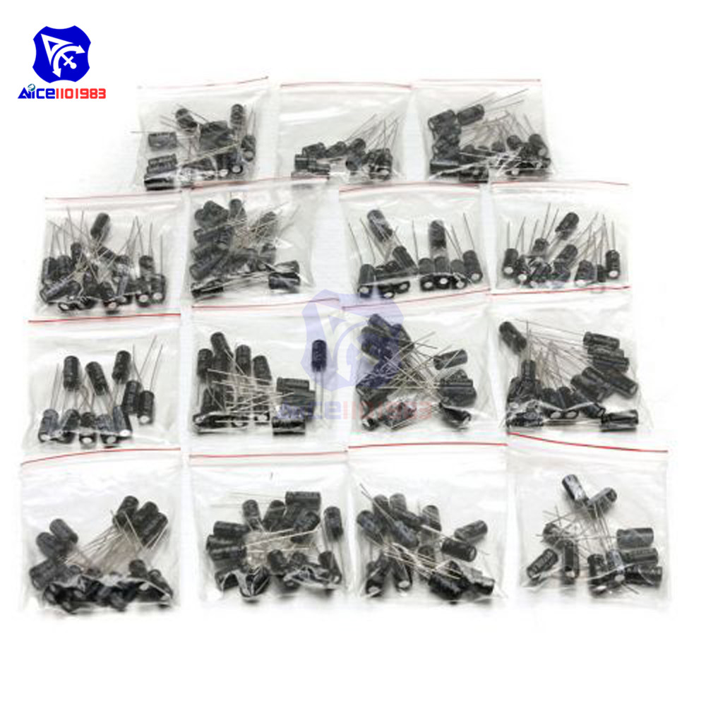 200PCS 15 Value Aluminum Electrolytic Capacitor 10V 16V 25V 50V 0.1μF 0.22μF 1μF 3.3μF 10μF 47μF 100μF 220μF Low ESR Capacitor