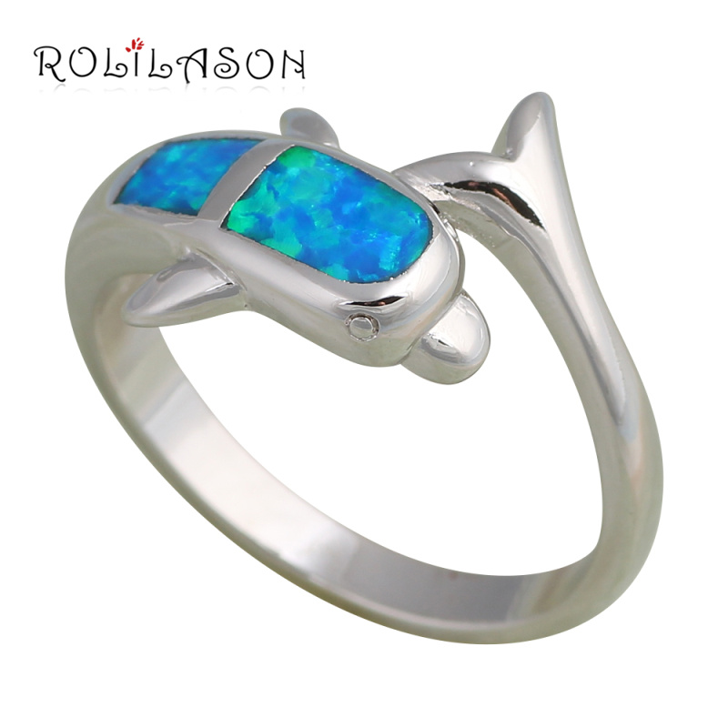 vintage rings Wholesale & Retail Special Dolphin Blue Fire Opal Silver Stamped Ring USA Sz #6.5 Fashion Jewelry OR321